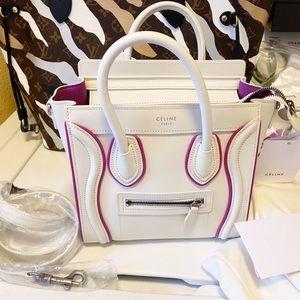 Auth. Celine NWT HTF White & Hot Pink Nano Luggage